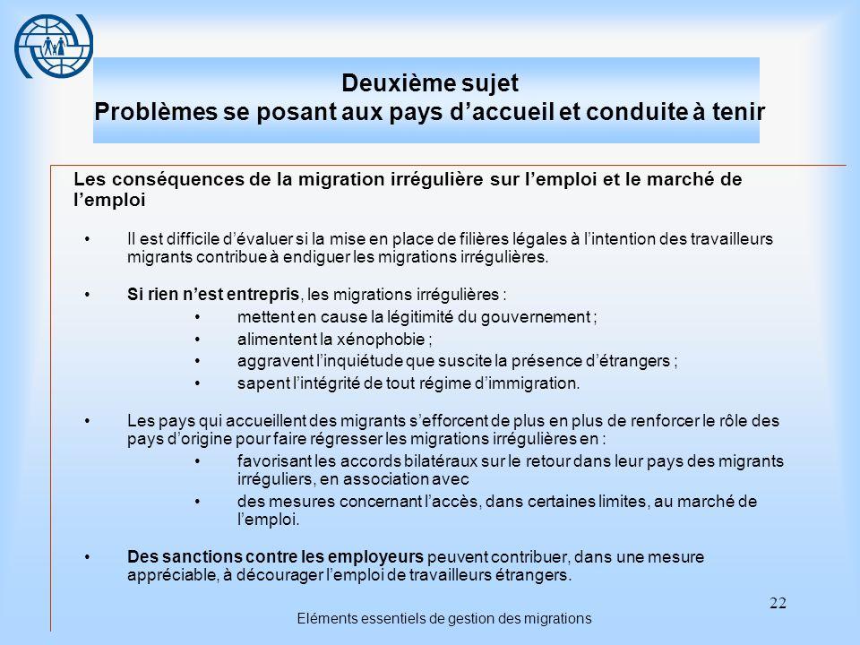 22 Eléments essentiels de gestion des migrations Deuxième sujet Problèmes se posant aux pays daccueil et conduite à tenir Les conséquences de la migra