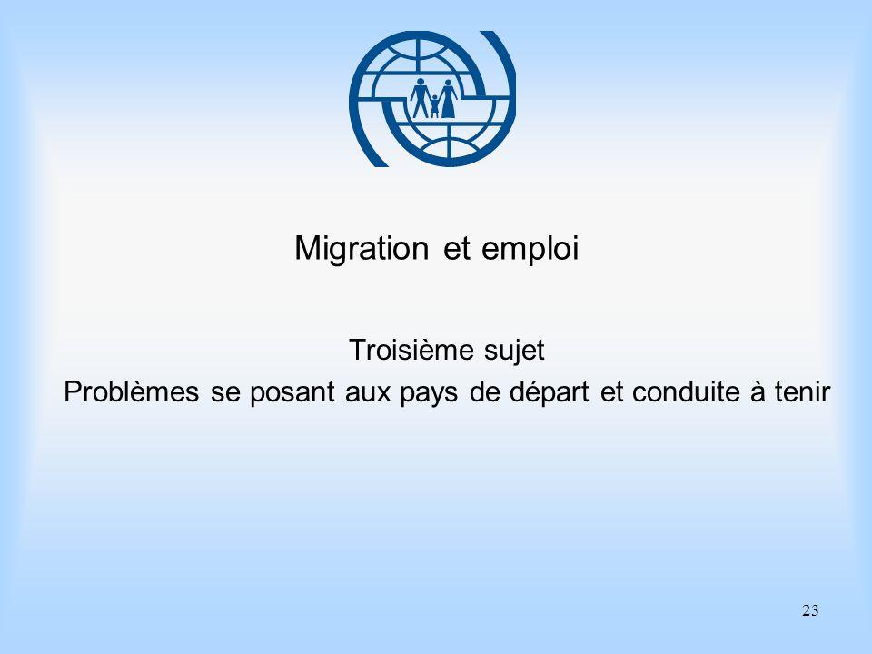 23 Migration et emploi Troisième sujet Problèmes se posant aux pays de départ et conduite à tenir