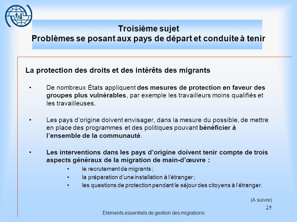 25 Eléments essentiels de gestion des migrations Troisième sujet Problèmes se posant aux pays de départ et conduite à tenir La protection des droits e