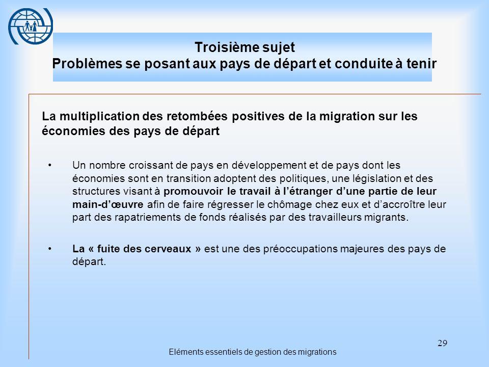 29 Eléments essentiels de gestion des migrations Troisième sujet Problèmes se posant aux pays de départ et conduite à tenir La multiplication des reto