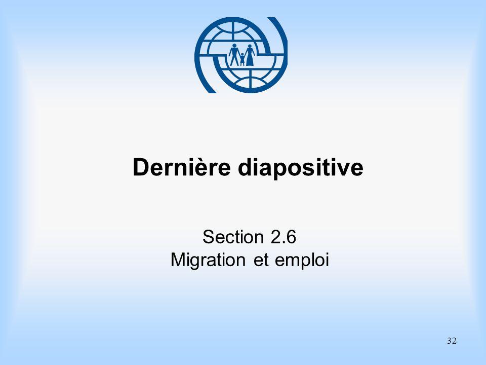 32 Dernière diapositive Section 2.6 Migration et emploi