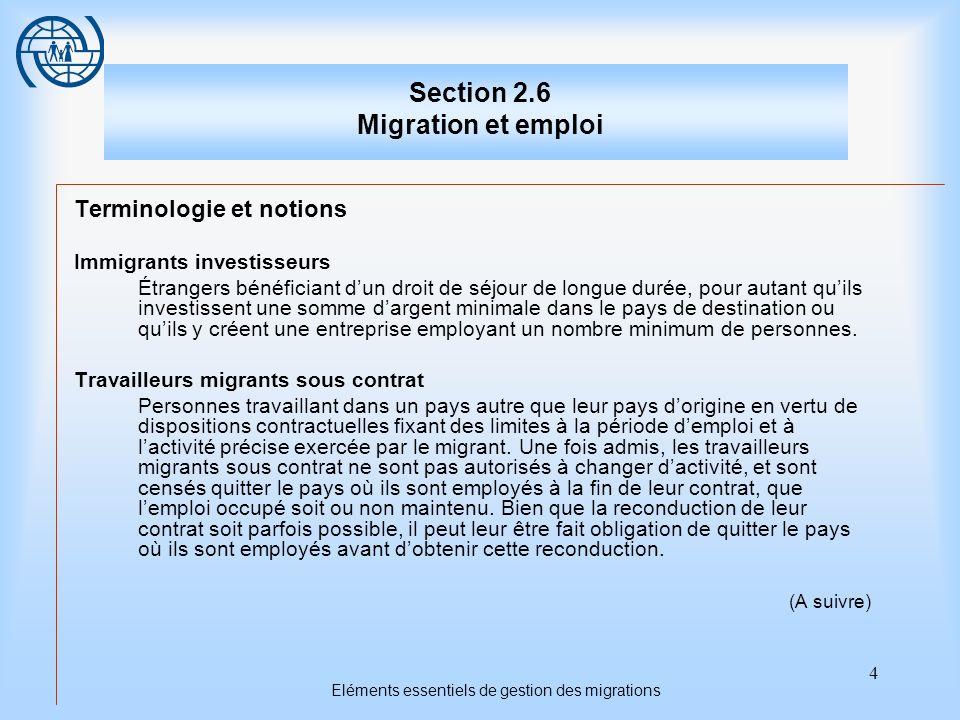4 Eléments essentiels de gestion des migrations Section 2.6 Migration et emploi Terminologie et notions Immigrants investisseurs Étrangers bénéficiant