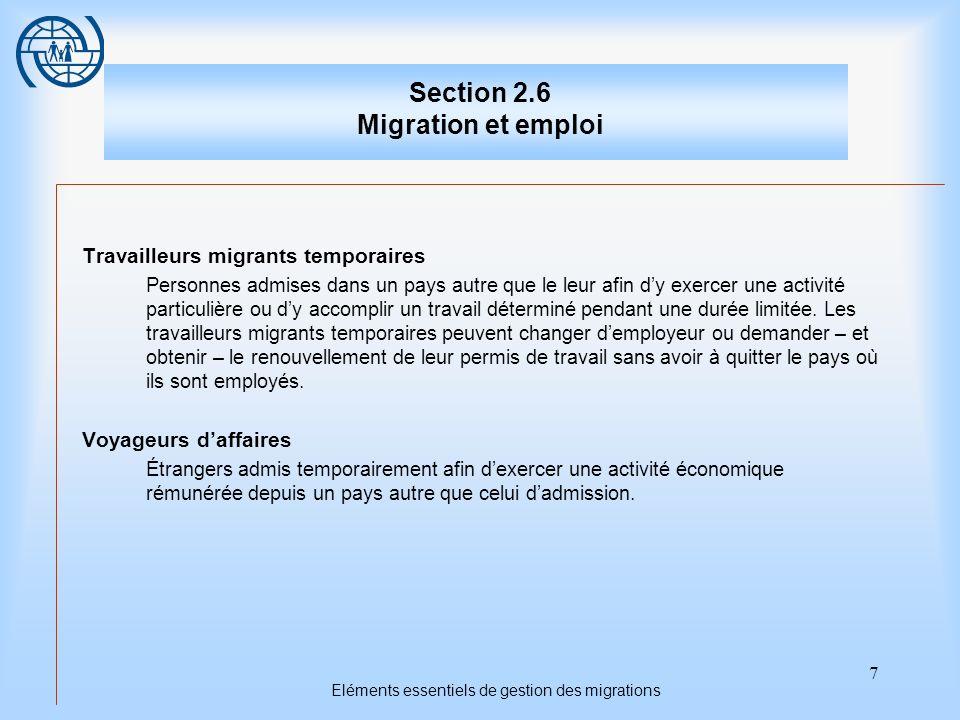 7 Eléments essentiels de gestion des migrations Section 2.6 Migration et emploi Travailleurs migrants temporaires Personnes admises dans un pays autre