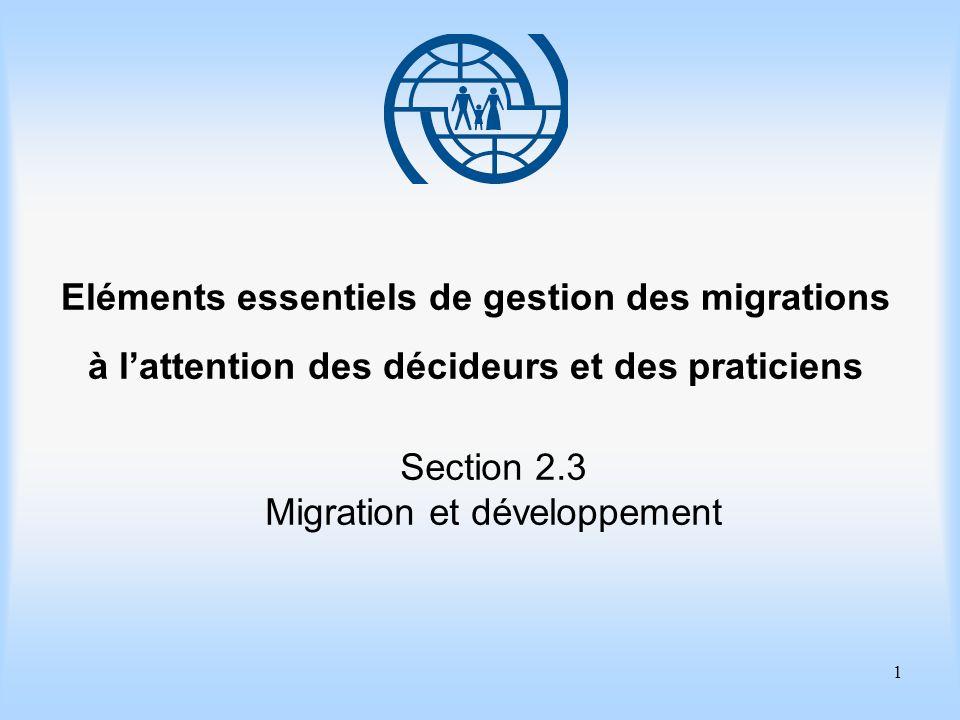 2 Eléments essentiels de gestion des migrations Section 2.3 Migration et développement Objectifs dapprentissage Comprendre les liens qui existent entre les politiques migratoires et le développement ainsi quentre les politiques de développement et la migration.