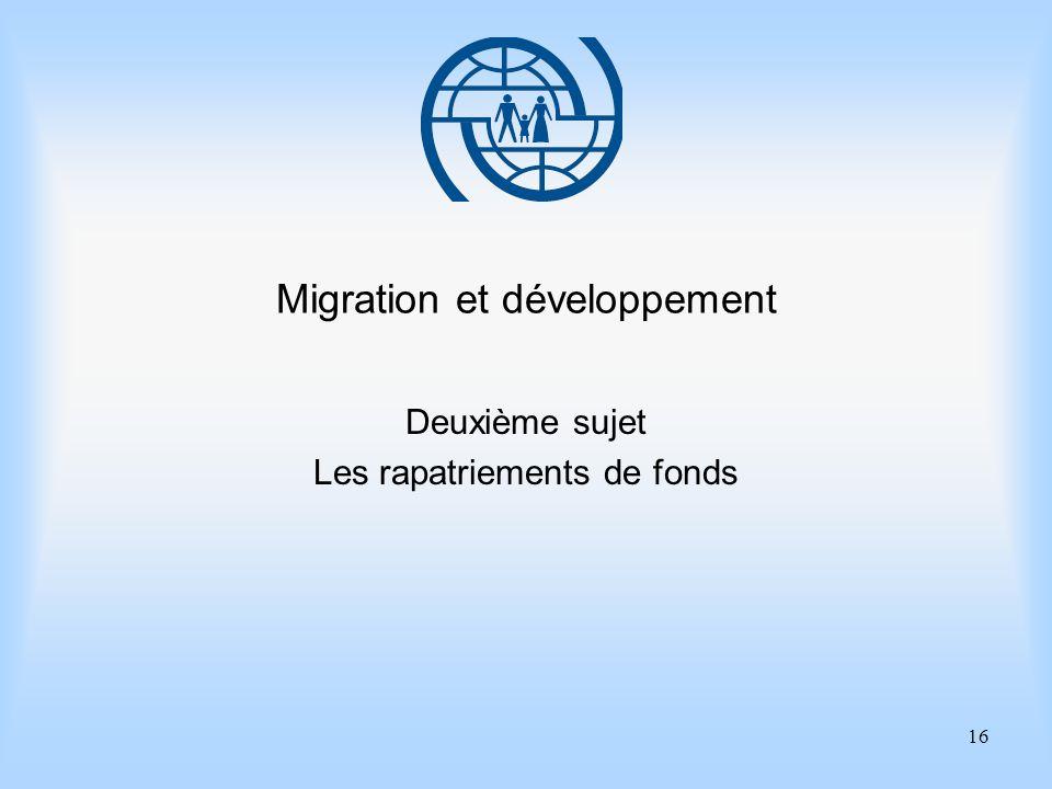 16 Migration et développement Deuxième sujet Les rapatriements de fonds
