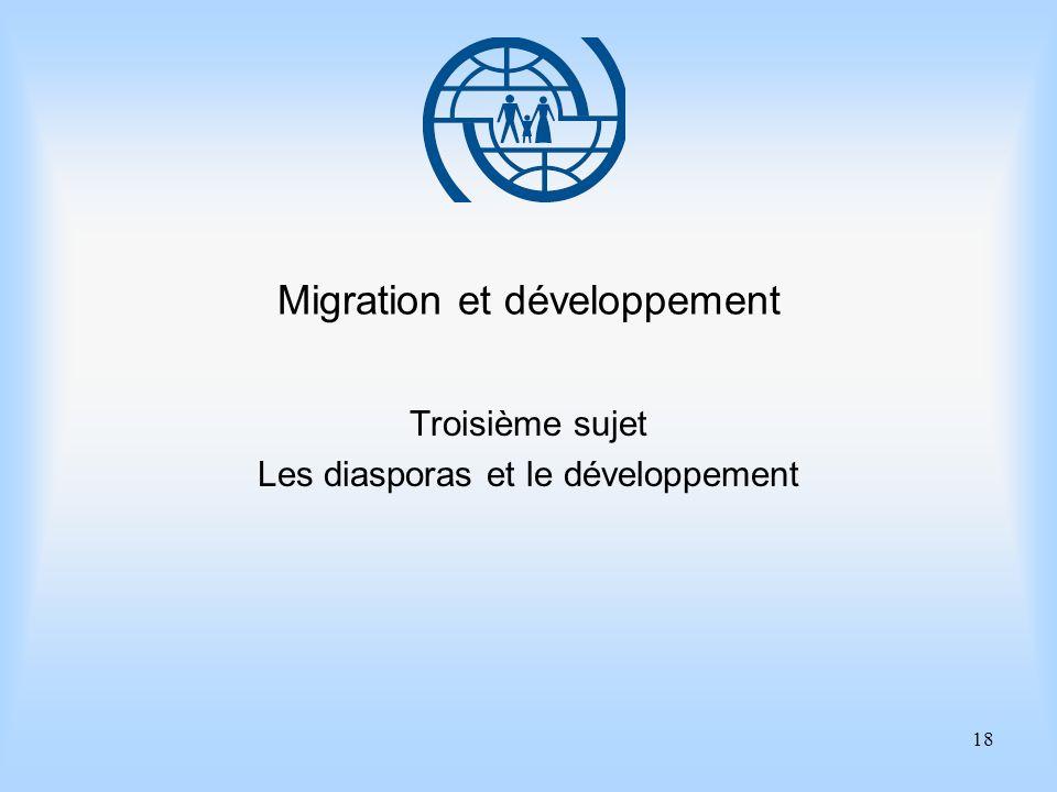 18 Migration et développement Troisième sujet Les diasporas et le développement