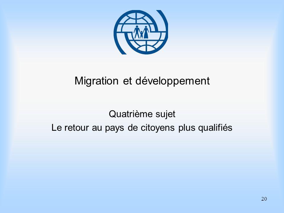 20 Migration et développement Quatrième sujet Le retour au pays de citoyens plus qualifiés