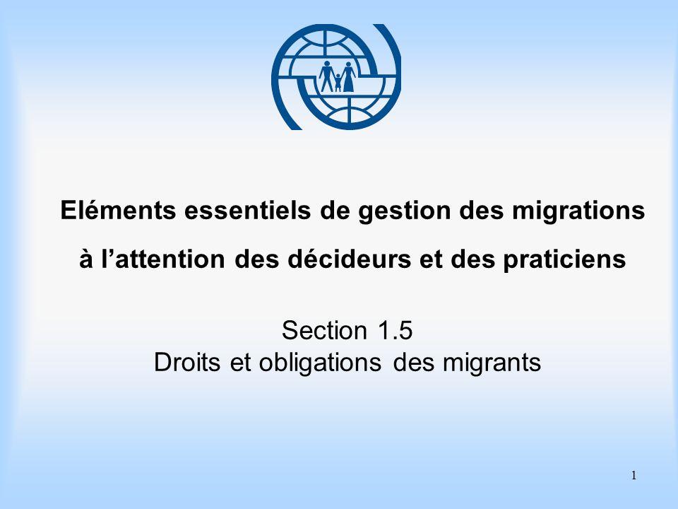 2 Eléments essentiels de gestion des migrations Section 1.5 Droits et obligations des migrants Objectifs dapprentissage Améliorer votre connaissance des droits et des obligations fondamentaux des migrants.