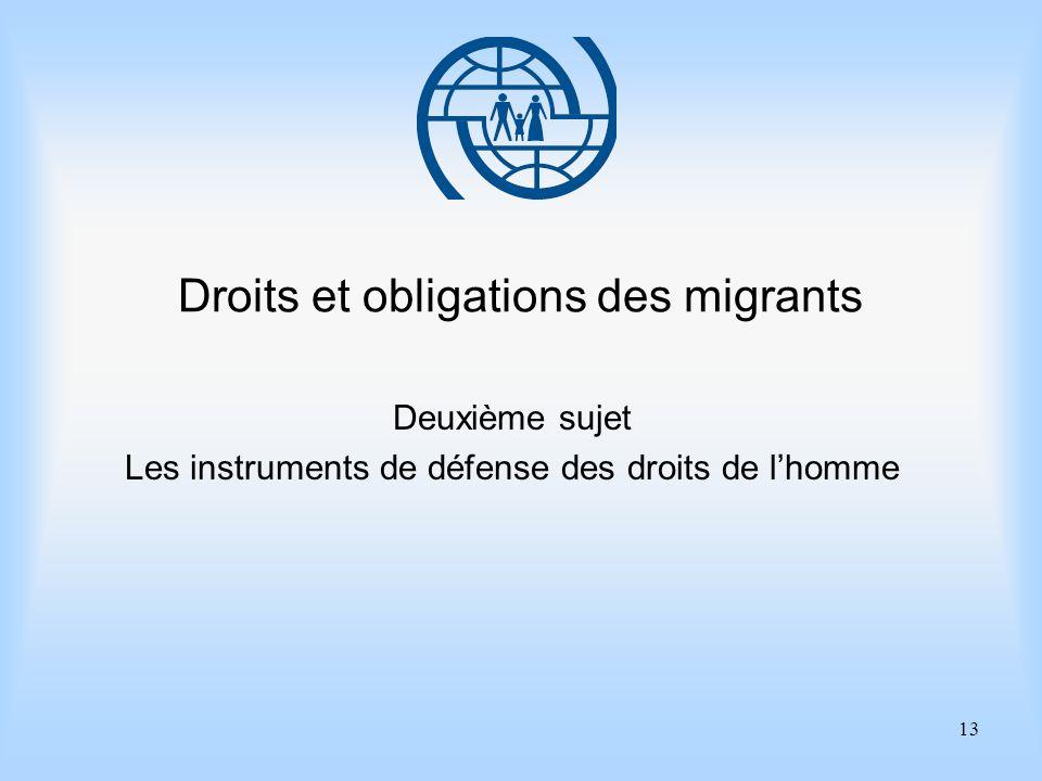 13 Droits et obligations des migrants Deuxième sujet Les instruments de défense des droits de lhomme