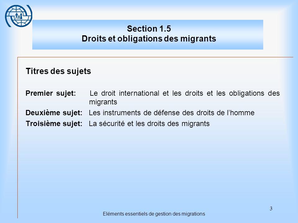3 Eléments essentiels de gestion des migrations Section 1.5 Droits et obligations des migrants Titres des sujets Premier sujet: Le droit international et les droits et les obligations des migrants Deuxième sujet: Les instruments de défense des droits de lhomme Troisième sujet: La sécurité et les droits des migrants