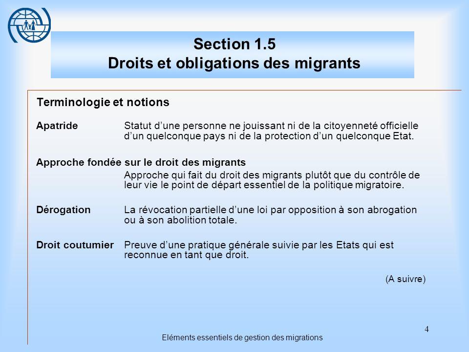 5 Eléments essentiels de gestion des migrations Section 1.5 Droits et obligations des migrants Entrer en vigueurAvoir force exécutoire.