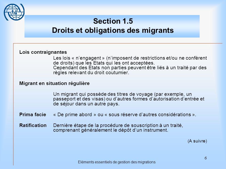 17 Droits et obligations des migrants Troisième sujet La sécurité et les droits des migrants