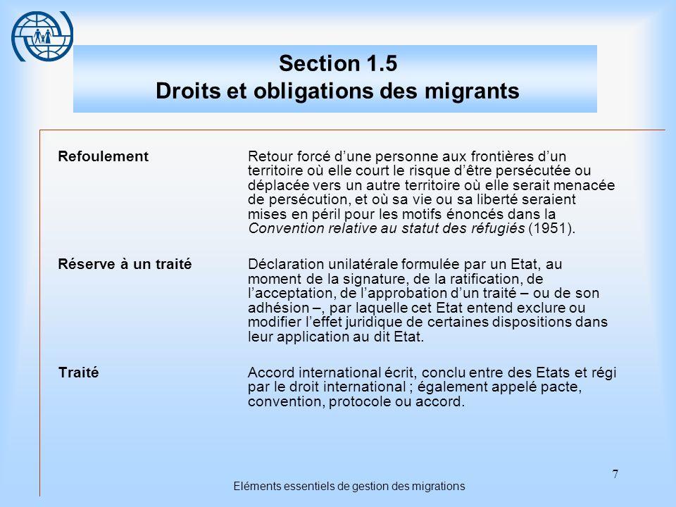 8 Droits et obligations des migrants Premier Sujet Le droit international et les droits et les obligations des migrants