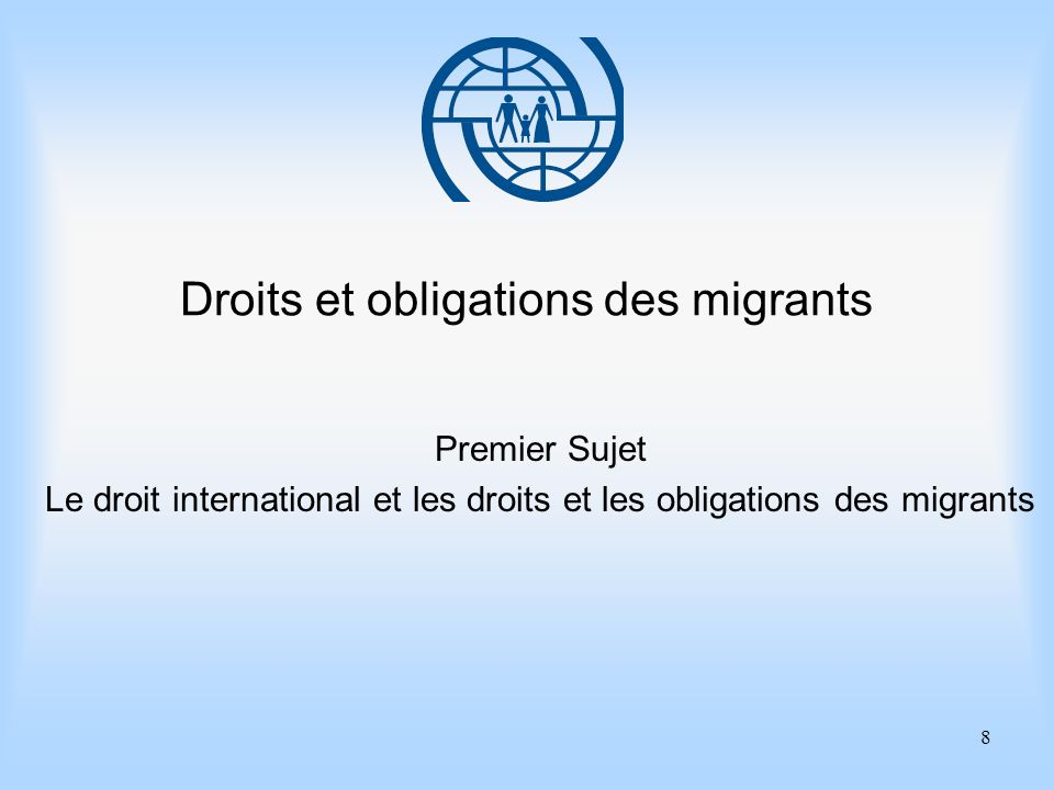 9 Eléments essentiels de gestion des migrations Premier sujet Le droit international et les droits et les obligations des migrants Points importants 1.Des différences de traitement entre citoyens et non-ressortissants, à la fois sur le plan du droit international et sur celui de la pratique des Etats.