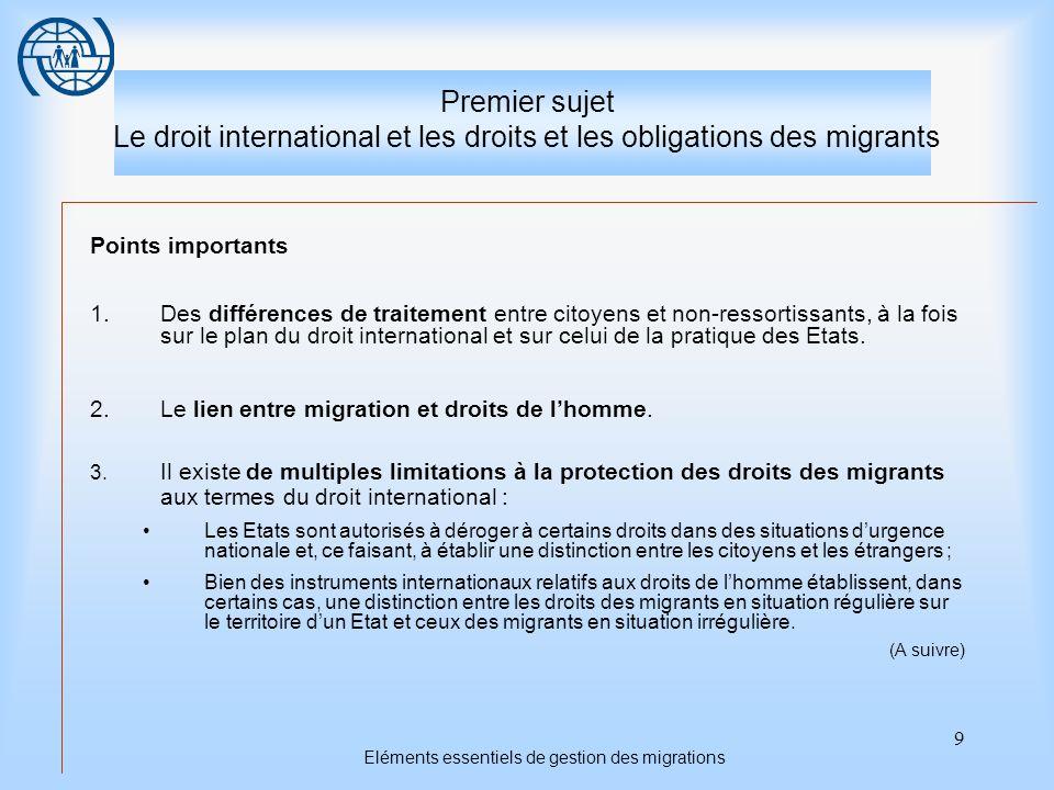 20 Eléments essentiels de gestion des migrations Troisième sujet La sécurité et les droits des migrants La législation nationale devrait intégrer les normes internationales les plus importantes et, partant, contribuer à structurer une politique et une gestion migratoires efficaces.