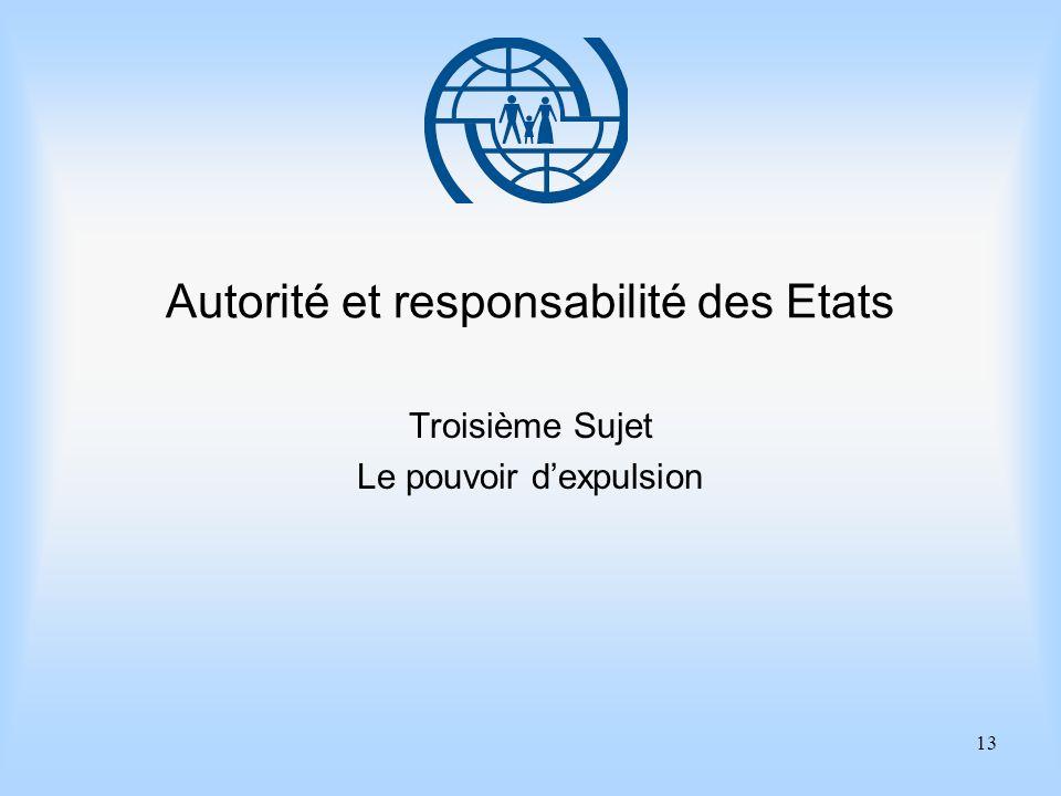 13 Autorité et responsabilité des Etats Troisième Sujet Le pouvoir dexpulsion