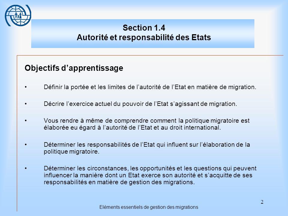 2 Eléments essentiels de gestion des migrations Section 1.4 Autorité et responsabilité des Etats Objectifs dapprentissage Définir la portée et les limites de lautorité de lEtat en matière de migration.