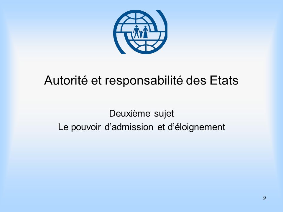 9 Autorité et responsabilité des Etats Deuxième sujet Le pouvoir dadmission et déloignement