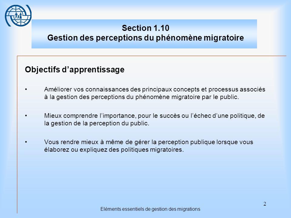 13 Eléments essentiels de gestion des migrations Deuxième sujet Utiliser linformation pour la gestion migratoire Points importants 1.Des campagnes dinformation à grande échelle peuvent servir pour les situations dites de flux irréguliers.
