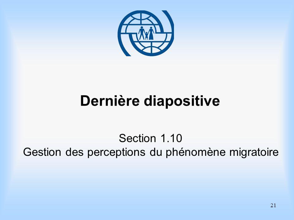 21 Dernière diapositive Section 1.10 Gestion des perceptions du phénomène migratoire