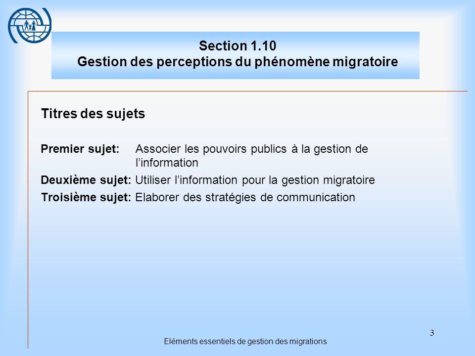 3 Eléments essentiels de gestion des migrations Section 1.10 Gestion des perceptions du phénomène migratoire Titres des sujets Premier sujet: Associer les pouvoirs publics à la gestion de linformation Deuxième sujet: Utiliser linformation pour la gestion migratoire Troisième sujet: Elaborer des stratégies de communication