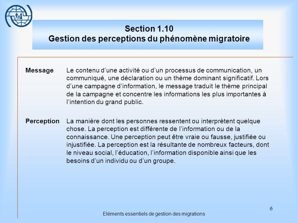 6 Eléments essentiels de gestion des migrations Section 1.10 Gestion des perceptions du phénomène migratoire MessageLe contenu dune activité ou dun processus de communication, un communiqué, une déclaration ou un thème dominant significatif.