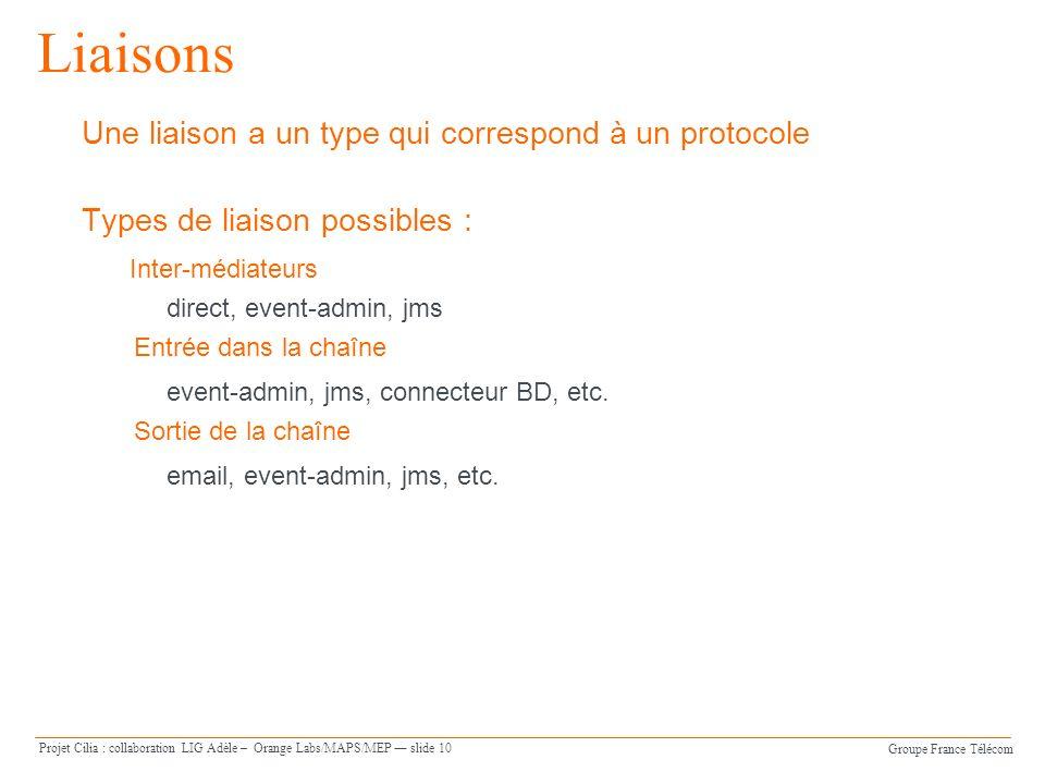 Groupe France Télécom Projet Cilia : collaboration LIG Adèle – Orange Labs/MAPS/MEP slide 10 Liaisons Une liaison a un type qui correspond à un protocole Types de liaison possibles : Inter-médiateurs direct, event-admin, jms Entrée dans la chaîne event-admin, jms, connecteur BD, etc.