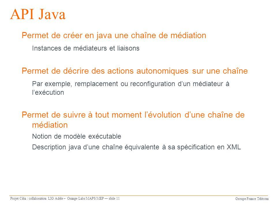 Groupe France Télécom Projet Cilia : collaboration LIG Adèle – Orange Labs/MAPS/MEP slide 11 API Java Permet de créer en java une chaîne de médiation
