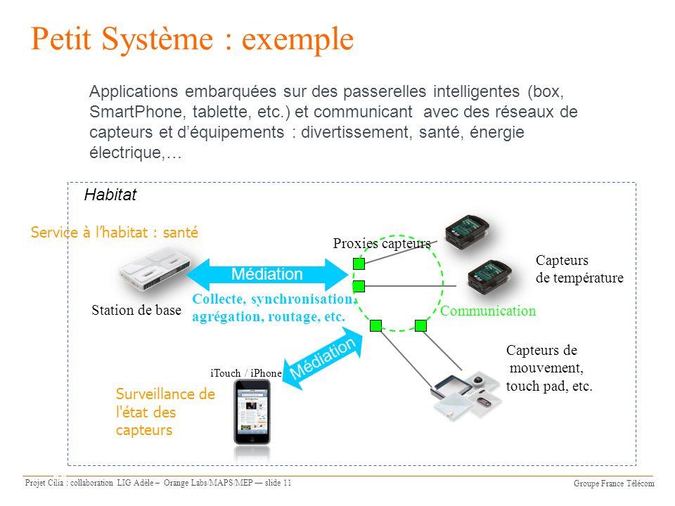 Groupe France Télécom Projet Cilia : collaboration LIG Adèle – Orange Labs/MAPS/MEP slide 11 Orange Software Engineering slide 11 Petit Système : exem