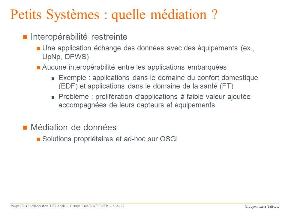 Groupe France Télécom Projet Cilia : collaboration LIG Adèle – Orange Labs/MAPS/MEP slide 12 Petits Systèmes : quelle médiation ? Interopérabilité res