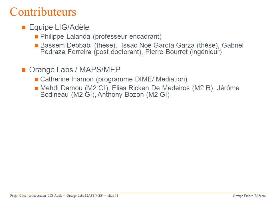 Groupe France Télécom Projet Cilia : collaboration LIG Adèle – Orange Labs/MAPS/MEP slide 18 Equipe LIG/Adèle Philippe Lalanda (professeur encadrant)