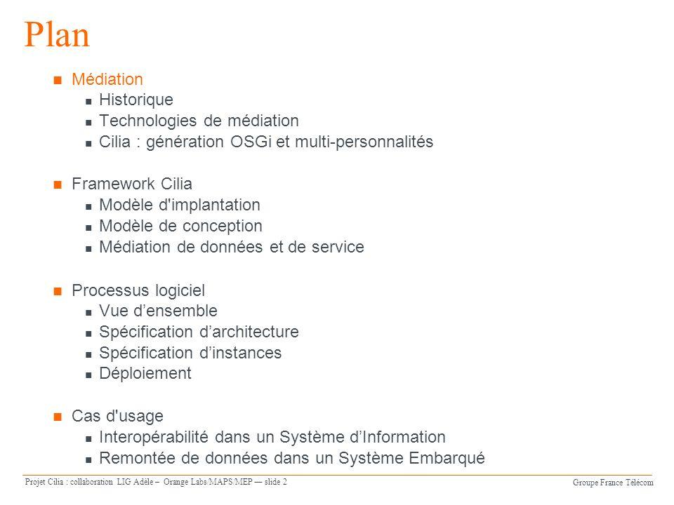 Groupe France Télécom Projet Cilia : collaboration LIG Adèle – Orange Labs/MAPS/MEP slide 2 Plan Médiation Historique Technologies de médiation Cilia
