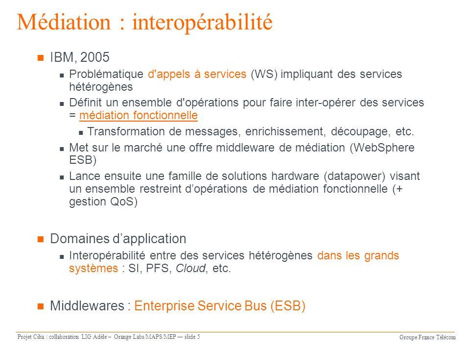 Groupe France Télécom Projet Cilia : collaboration LIG Adèle – Orange Labs/MAPS/MEP slide 5 IBM, 2005 Problématique d'appels à services (WS) impliquan