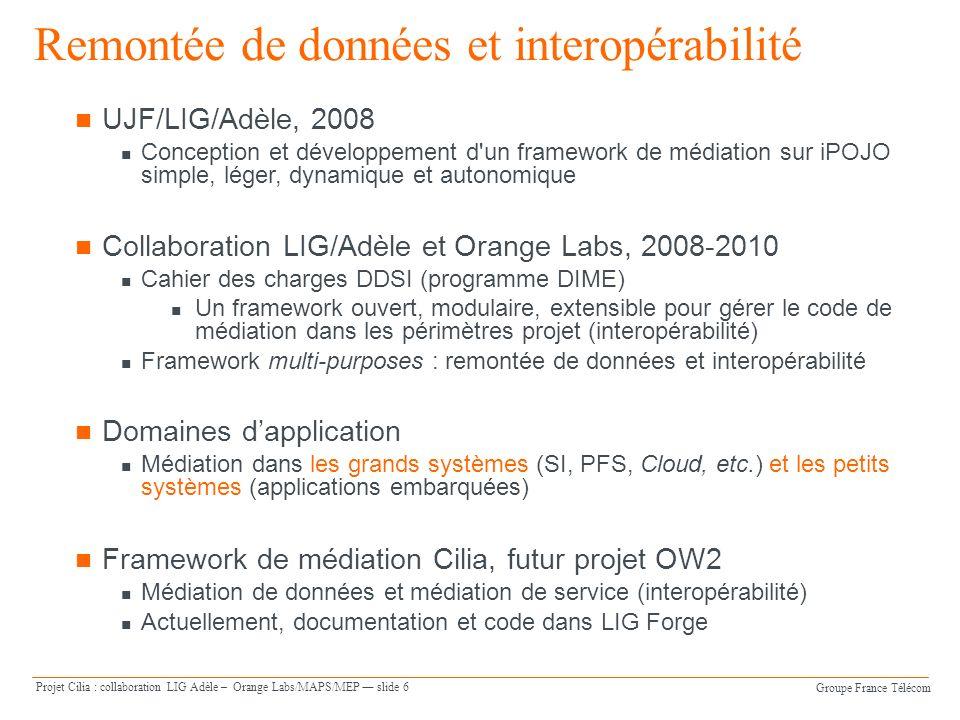 Groupe France Télécom Projet Cilia : collaboration LIG Adèle – Orange Labs/MAPS/MEP slide 6 UJF/LIG/Adèle, 2008 Conception et développement d'un frame