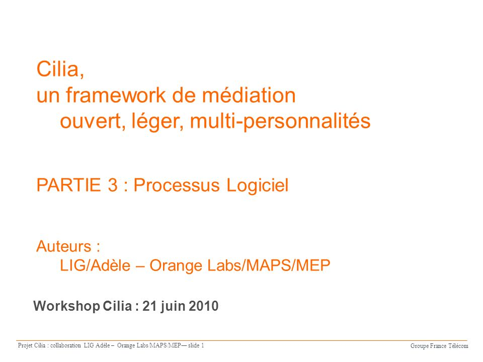 Groupe France Télécom Projet Cilia : collaboration LIG Adèle – Orange Labs/MAPS/MEP slide 12 Processus Logiciel Vue densemble Spécification darchitecture Spécification dinstances Déploiement