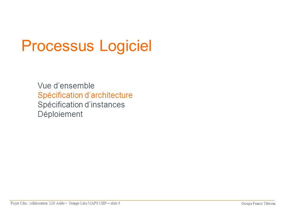 Groupe France Télécom Projet Cilia : collaboration LIG Adèle – Orange Labs/MAPS/MEP slide 17 Déploiement Machine d exécution iPOJO Service Client Déploiement générer Spécification des médiateurs du projet : Maven => bundle (.jar) Instances de médiateur iPOJO Spécification de la chaîne de médiation : fichier XML