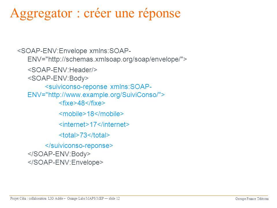 Groupe France Télécom Projet Cilia : collaboration LIG Adèle – Orange Labs/MAPS/MEP slide 12 Aggregator : créer une réponse 48 18 17 73