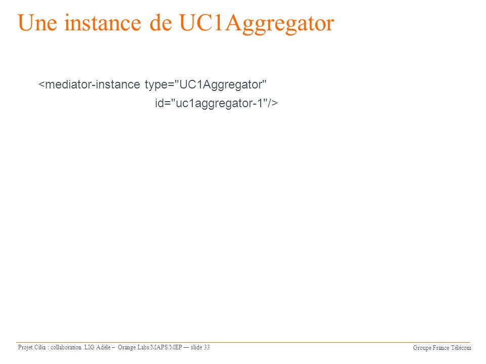 Groupe France Télécom Projet Cilia : collaboration LIG Adèle – Orange Labs/MAPS/MEP slide 33 Une instance de UC1Aggregator <mediator-instance type= UC1Aggregator id= uc1aggregator-1 />