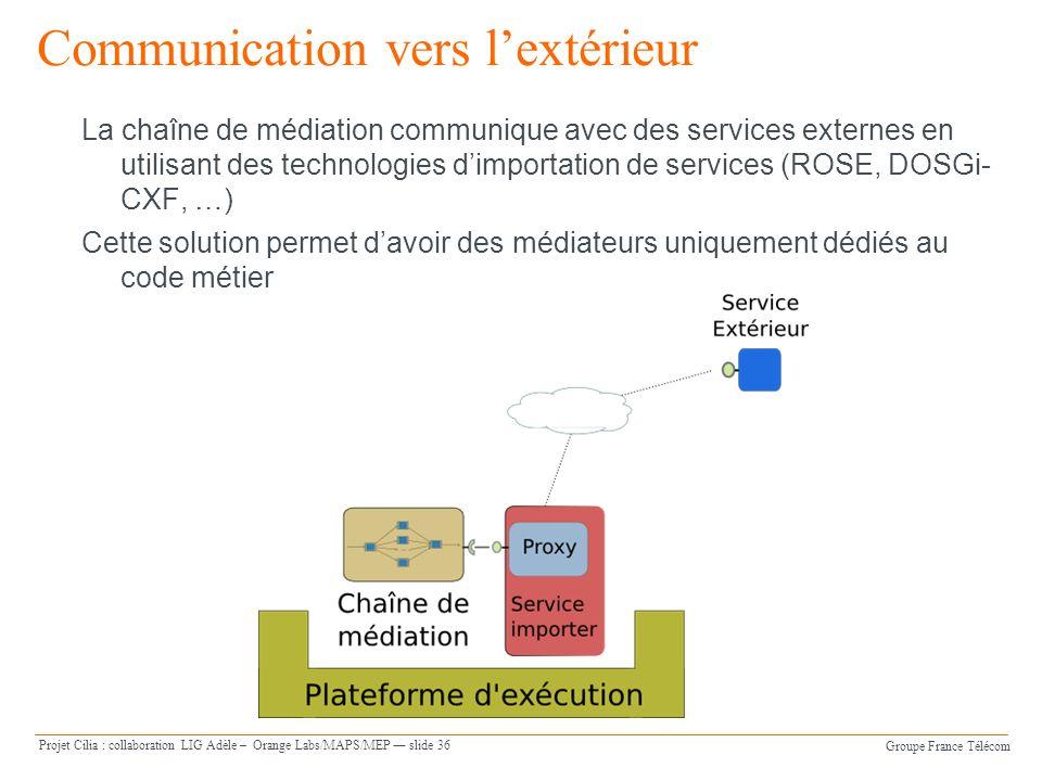 Groupe France Télécom Projet Cilia : collaboration LIG Adèle – Orange Labs/MAPS/MEP slide 36 Communication vers lextérieur La chaîne de médiation communique avec des services externes en utilisant des technologies dimportation de services (ROSE, DOSGi- CXF, …) Cette solution permet davoir des médiateurs uniquement dédiés au code métier