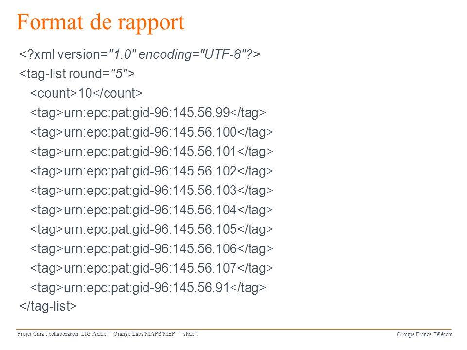 Groupe France Télécom Projet Cilia : collaboration LIG Adèle – Orange Labs/MAPS/MEP slide 7 Format de rapport 10 urn:epc:pat:gid-96:145.56.99 urn:epc:pat:gid-96:145.56.100 urn:epc:pat:gid-96:145.56.101 urn:epc:pat:gid-96:145.56.102 urn:epc:pat:gid-96:145.56.103 urn:epc:pat:gid-96:145.56.104 urn:epc:pat:gid-96:145.56.105 urn:epc:pat:gid-96:145.56.106 urn:epc:pat:gid-96:145.56.107 urn:epc:pat:gid-96:145.56.91