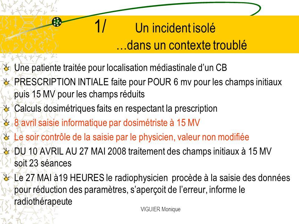VIGUIER Monique 1/ Un incident isolé …dans un contexte troublé Une patiente traitée pour localisation médiastinale dun CB PRESCRIPTION INTIALE faite p