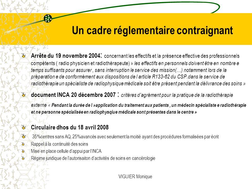 VIGUIER Monique Un cadre réglementaire contraignant Arrête du 19 novembre 2004 : concernant les effectifs et la présence effective des professionnels