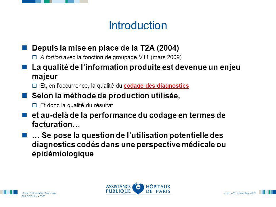 Unité dInformation Médicale GH COCHIN - SVP JIQH – 23 novembre 2009 Introduction Depuis la mise en place de la T2A (2004) A fortiori avec la fonction