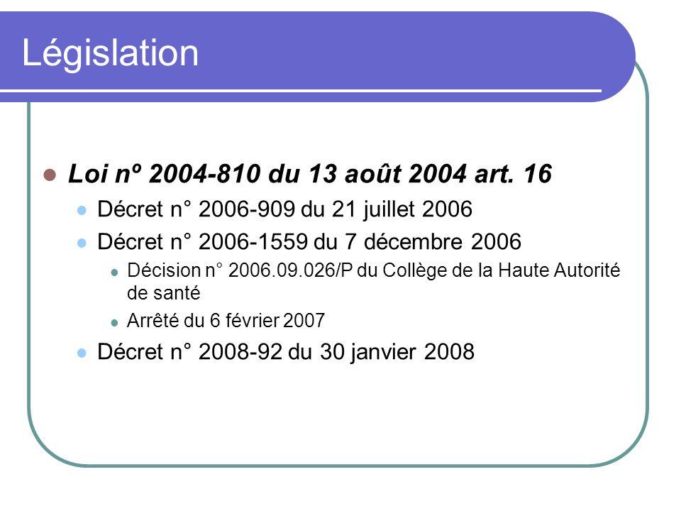 Législation Loi nº 2004-810 du 13 août 2004 art. 16 Décret n° 2006-909 du 21 juillet 2006 Décret n° 2006-1559 du 7 décembre 2006 Décision n° 2006.09.0
