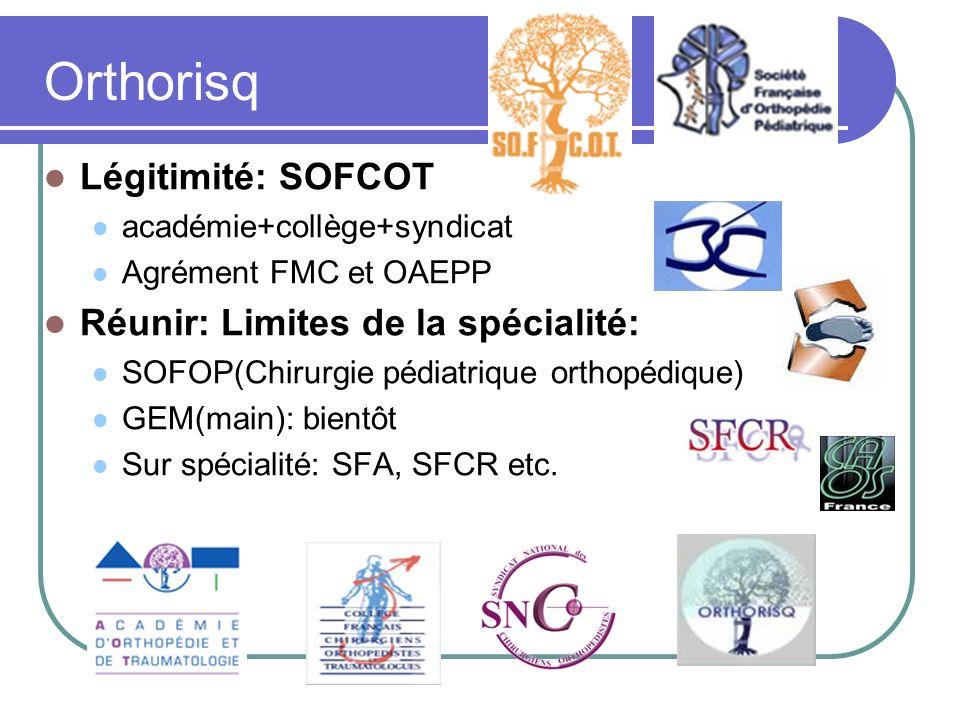 Orthorisq Légitimité: SOFCOT académie+collège+syndicat Agrément FMC et OAEPP Réunir: Limites de la spécialité: SOFOP(Chirurgie pédiatrique orthopédiqu