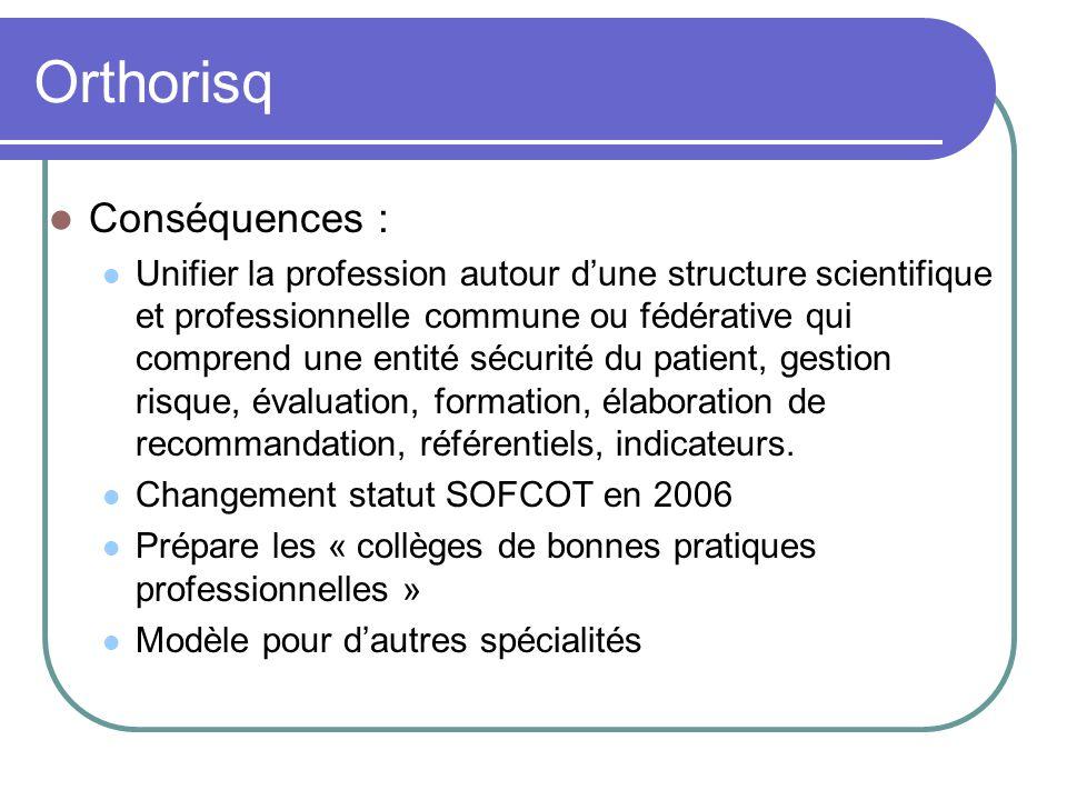 Orthorisq Conséquences : Unifier la profession autour dune structure scientifique et professionnelle commune ou fédérative qui comprend une entité séc