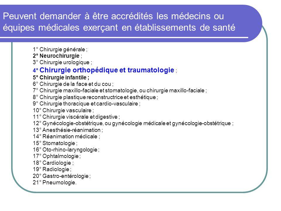 Peuvent demander à être accrédités les médecins ou équipes médicales exerçant en établissements de santé 1° Chirurgie générale ; 2° Neurochirurgie ; 3