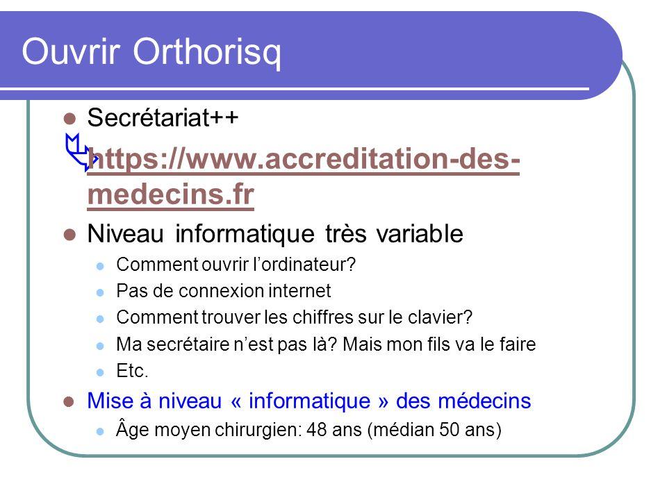 Ouvrir Orthorisq Secrétariat++ https://www.accreditation-des- medecins.fr https://www.accreditation-des- medecins.fr Niveau informatique très variable