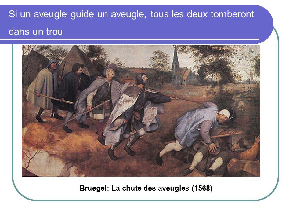 Si un aveugle guide un aveugle, tous les deux tomberont dans un trou Bruegel: La chute des aveugles (1568)