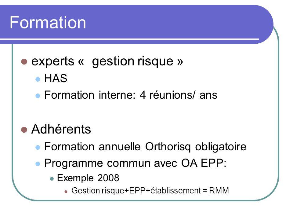 Formation experts « gestion risque » HAS Formation interne: 4 réunions/ ans Adhérents Formation annuelle Orthorisq obligatoire Programme commun avec O